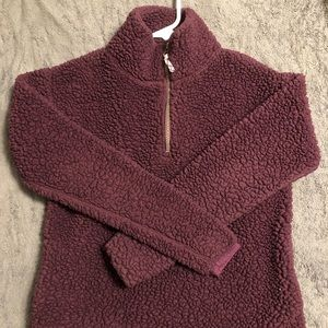 Maroon colored Sherpa sweater